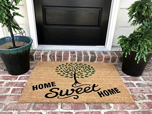 Tar Heel MarketPlace Mats Natural Coir Non Slip Tree Home Sweet Home Floor Entrance Door Mat 36L X 24W