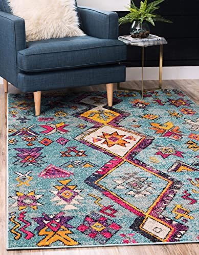 Unique Loom Sedona Collection Nomad Abstract Over-Dyed Turquoise Area Rug 10' 6 x 16' 5