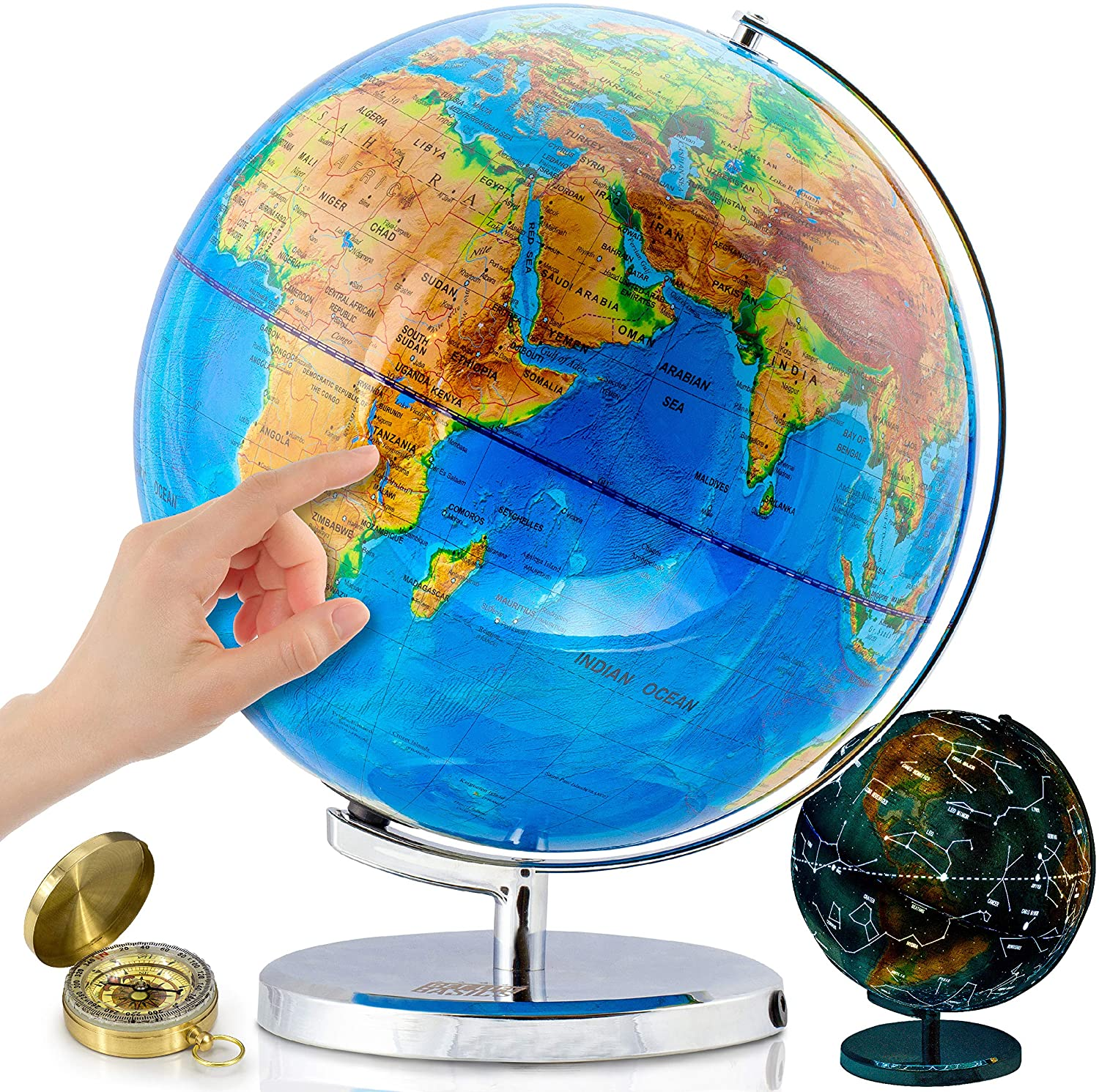 World Globe With Illuminated Constellations 13 Light Up Globe For Kids Adults Interactive Earth Globe Makes Great Educational Toys Office Supplies Teacher Desk Décor More By Get Life