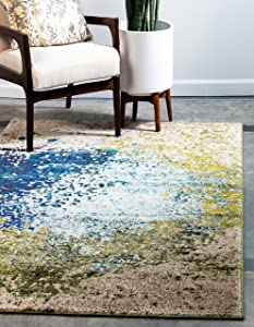 Unique Loom Estrella Collection Colorful Abstract Blue Area Rug (3' 3 x 5' 3)