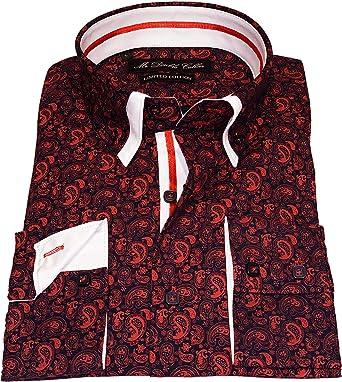 Diseño italiano llamativo camisa de cachemira roja elegante ...