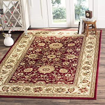 Amazon Com Safavieh Lyndhurst Collection Lnh212f Traditional Oriental Non Shedding Stain Resistant Living Room Bedroom Area Rug 6 X 9 Red Ivory Furniture Decor