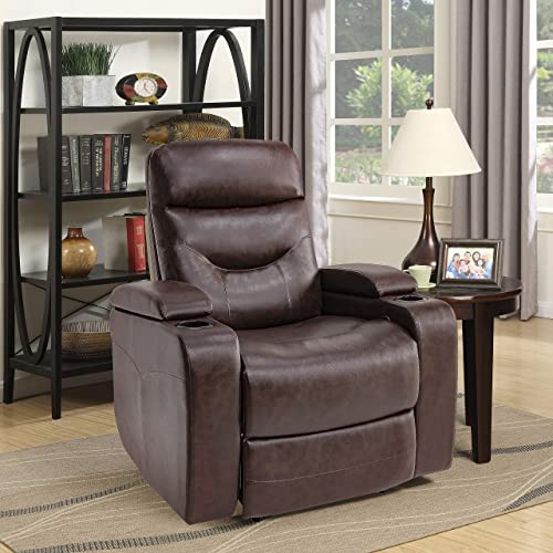 Relax A Lounger with Under Arm Storage Faux Leather, Java