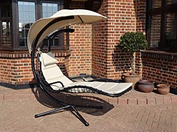 deluxe garden outdoor helicopter dream chair swing hammock sun lounger seat in black or beige   deluxe garden outdoor helicopter dream chair swing hammock sun      rh   amazon co uk