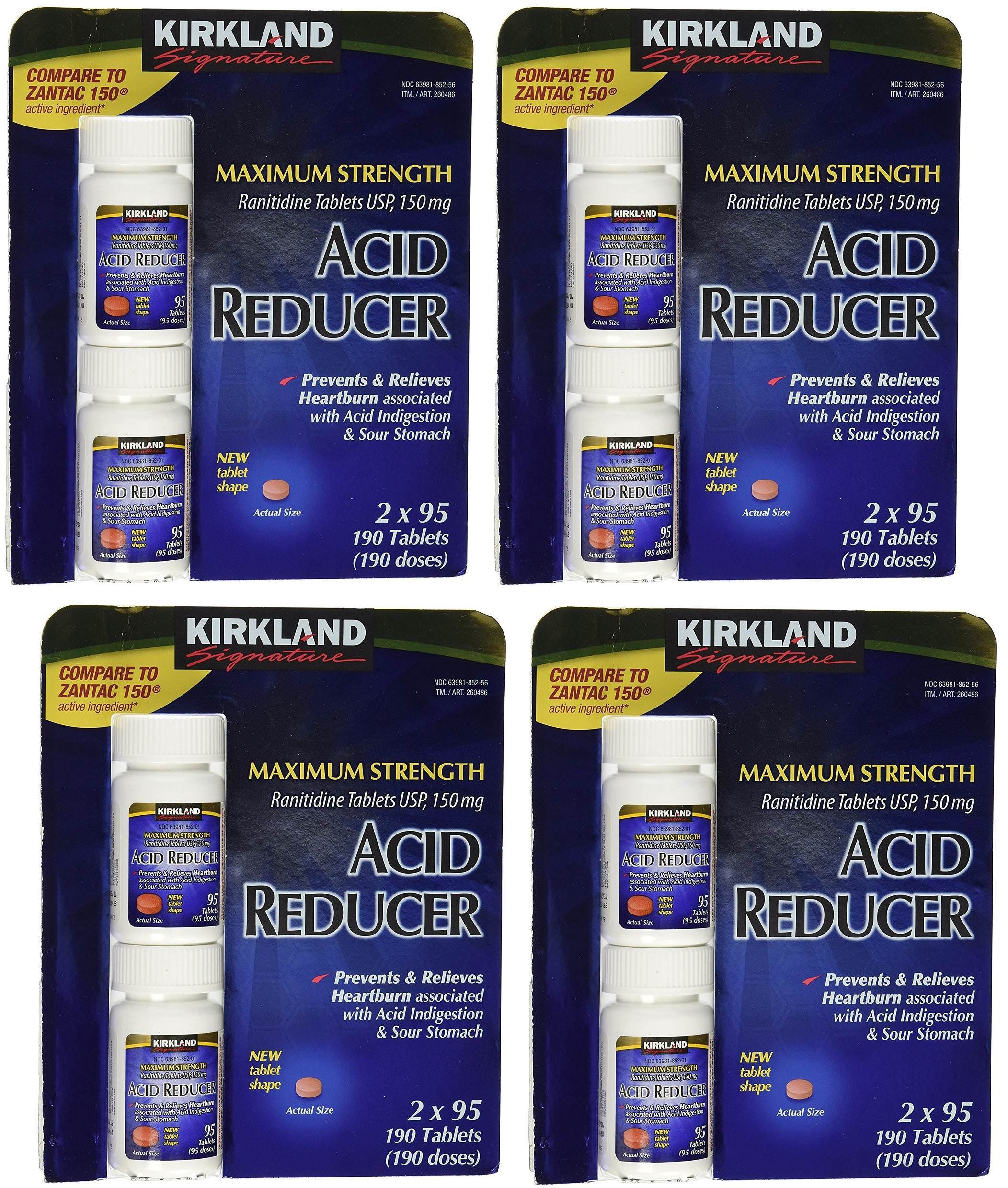 Kirkland Signature Maximum Strength Acid reducer Ranitidine tablets USP 150MG PANZpv, 4Pack (190 Tablets)
