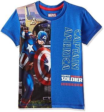 68f00a37 Captain America By Kidsville Boys' Plain Regular Fit T-Shirt  (CA0HBT619_Azure Blue_2-
