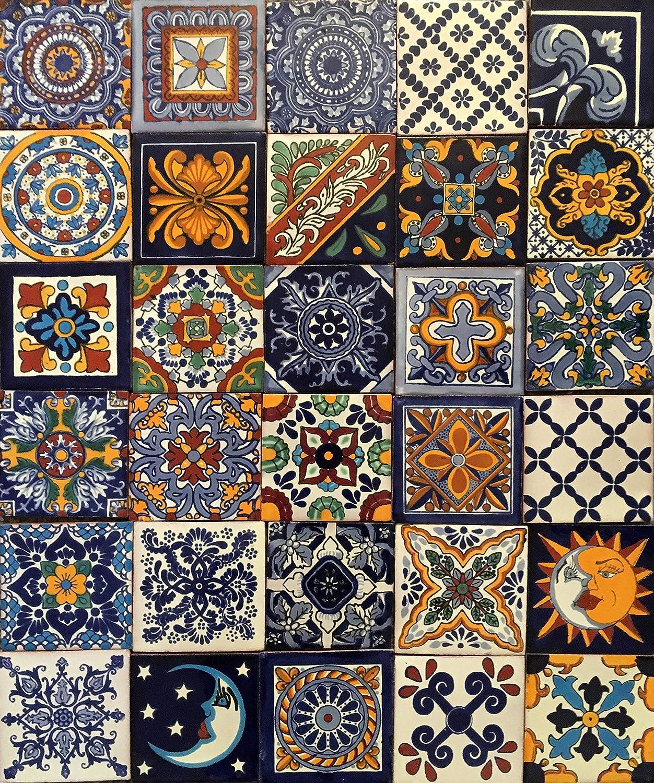 Cerames Horacio para cuarto de ba/ño y cocina 10cm*10cm mexicano Azulejos decorativos de colores de la pared 30 piezas por paquete