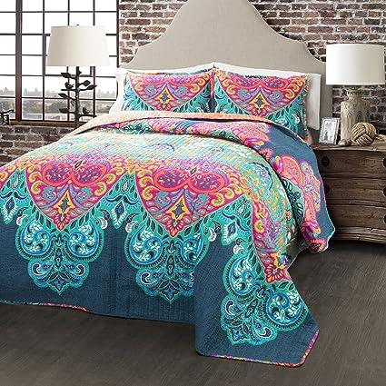 Amazon.com: Lush Decor Boho Chic Reversible 3 Piece Quilt Bedding ...