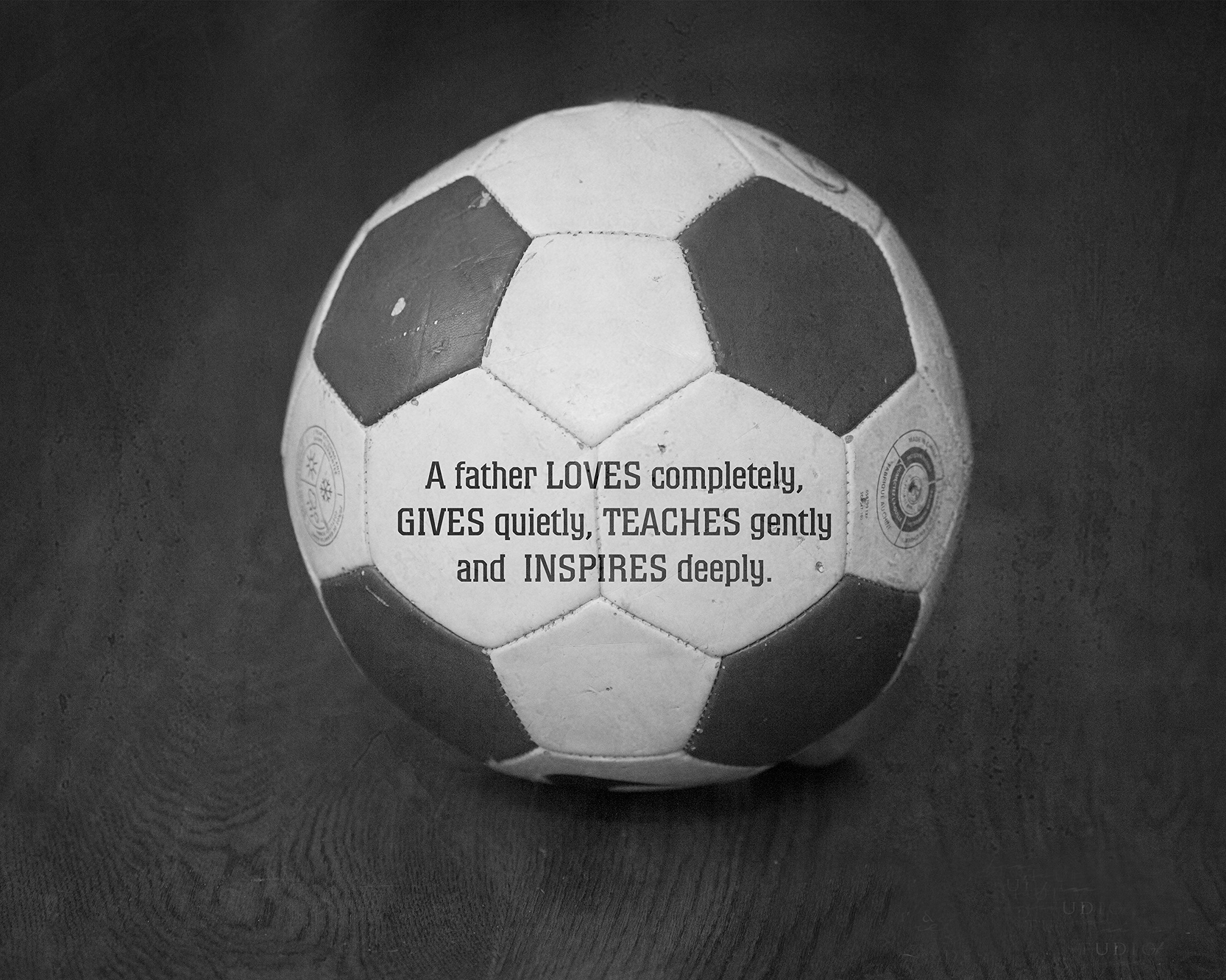 Soccer Football Sports Art Print with Father Love Quote, Unique Gift for Dad from Children