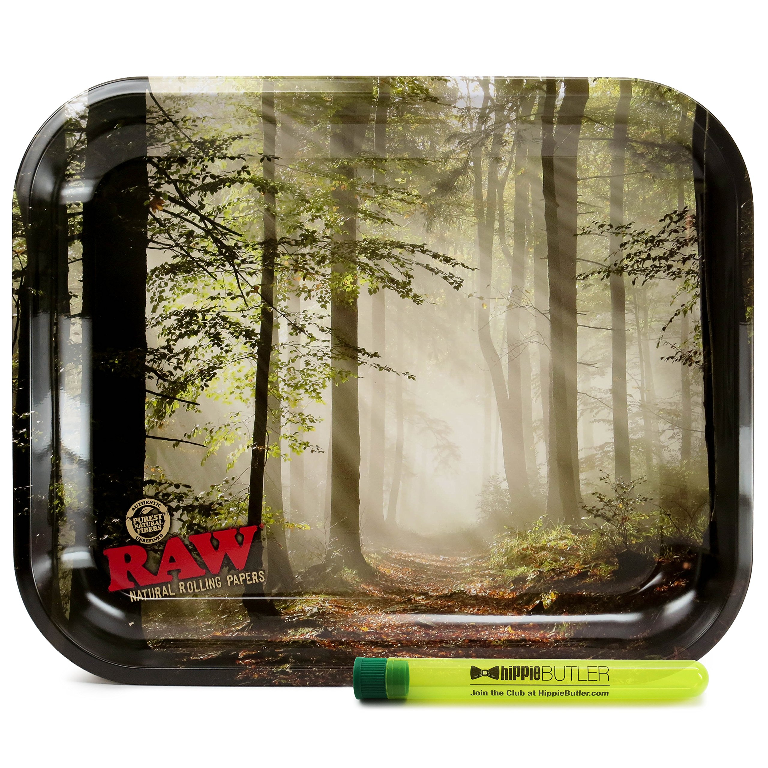 RAW Smokey Trees Rolling Tray with Hippie Butler XL Doob Tube
