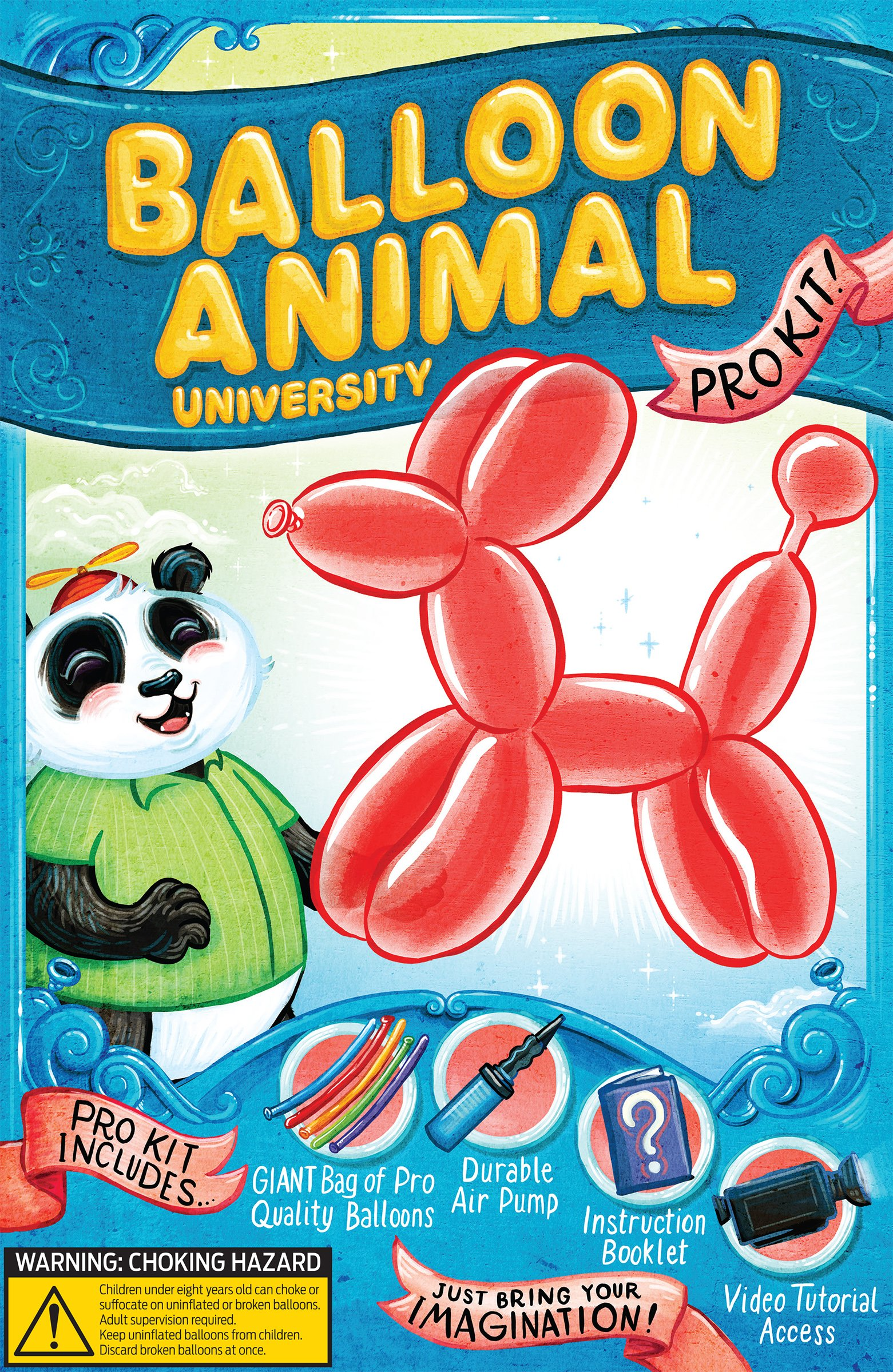 Balloon Animal University PRO Kit with 100 balloons, Now With NEW Sculptures! How-To Videos, Qualatex Balloons, Pump, Instruction Book. Learn to Make Balloon Animals Fun Party Activity Holiday Gift by Imagination Overdrive (Image #3)