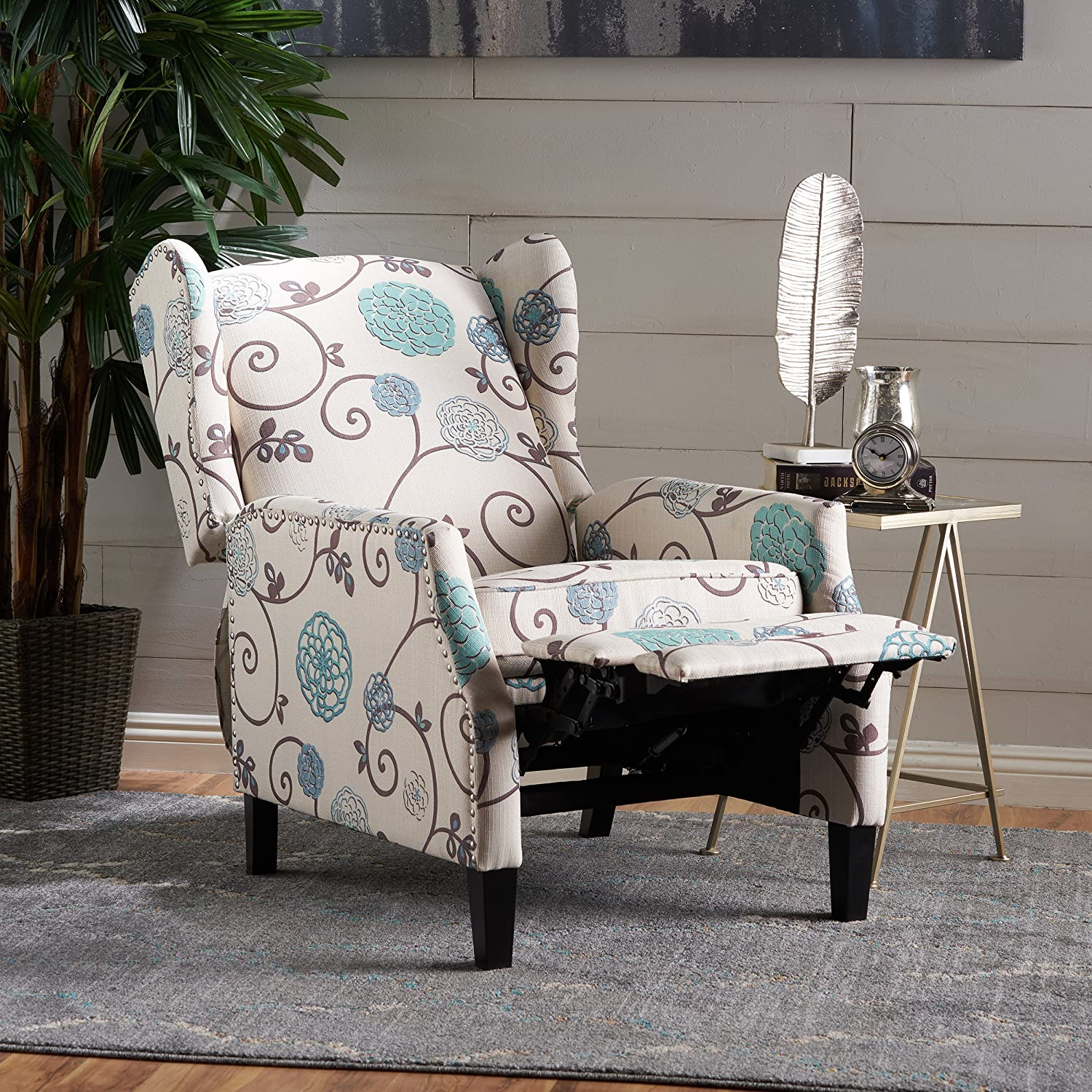 Christopher Knight Home 301080 Westeros Recliner Chair, White Blue Floral