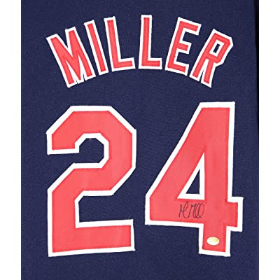 the latest b4da7 df63f Andrew Miller Cleveland Indians Signed Autographed Blue #24 ...