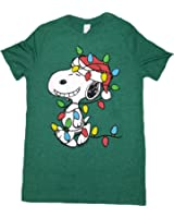 Amazon.com: Peanuts Snoopy Christmas Lights Dog House Graphic T ...