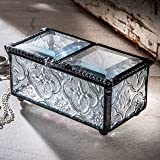 J Devlin Box 294 Antique Glass Box Double Open Keepsake Gift Vintage Jewelry Box