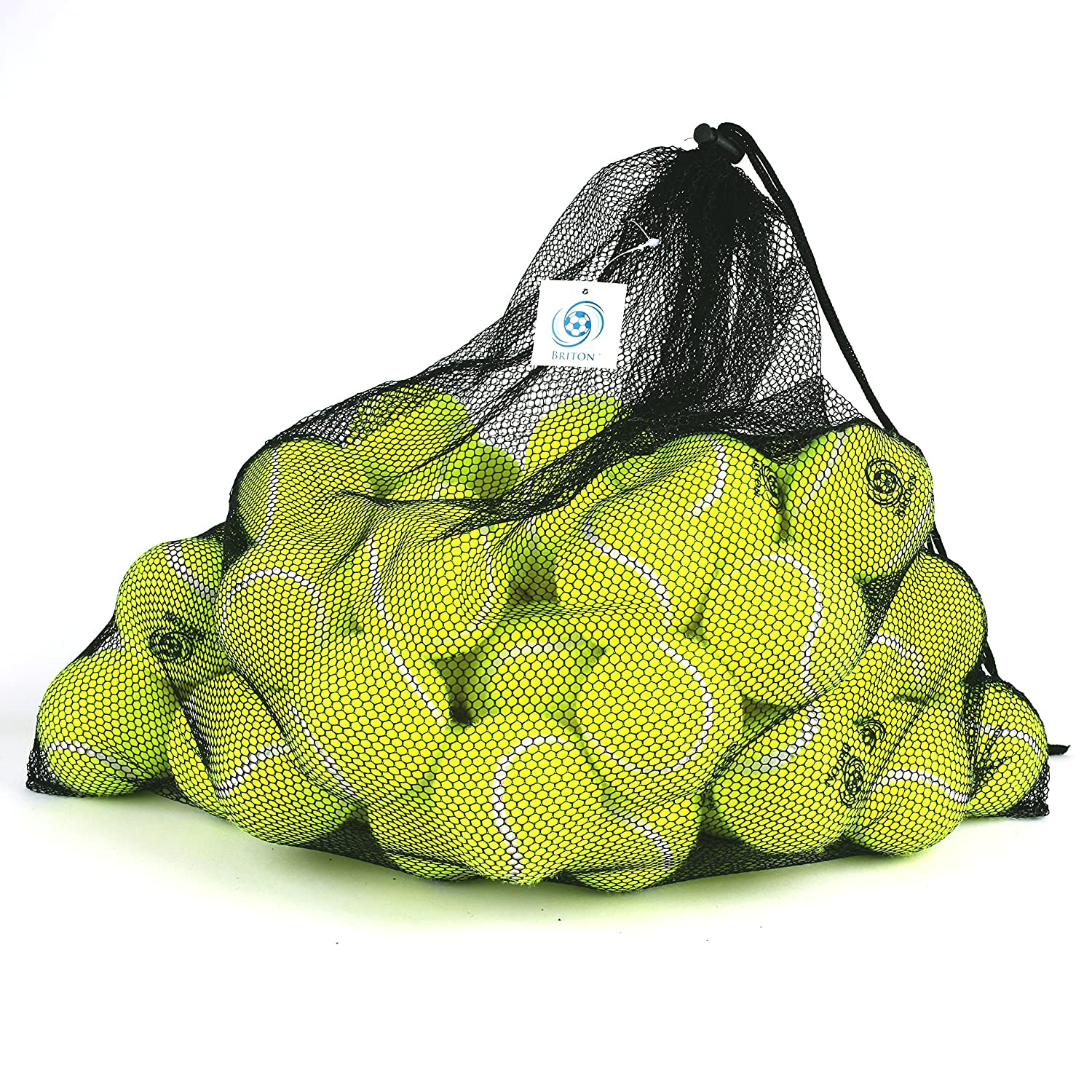 Briton Pressure Less Tennis Balls with Mesh Carrying Bag Pack of 60