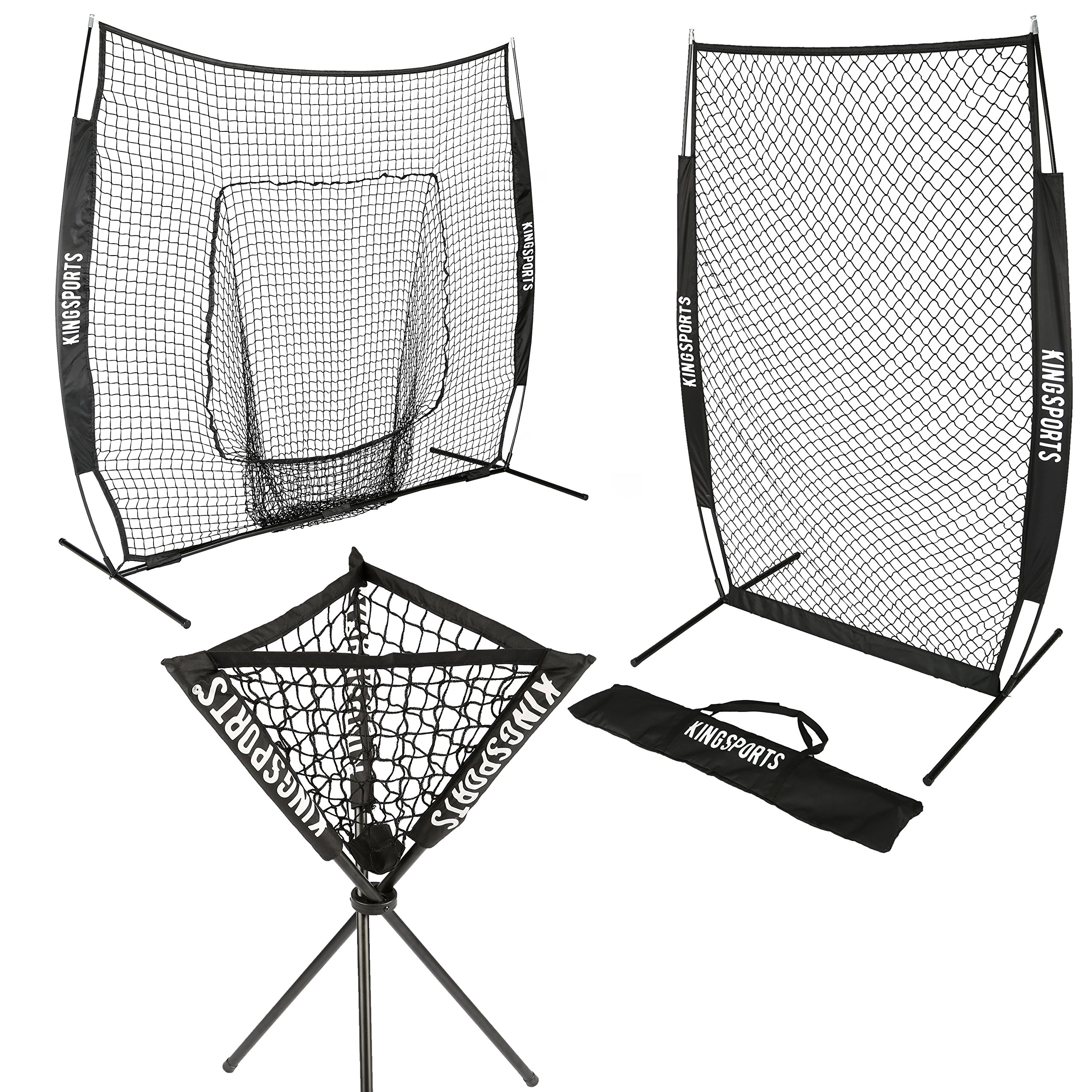 KingSports ALL IN ONE Pro Bundle (Baseball Softball 7x7 Net, 7x4 I-Screen Pitching Net & Ball Caddy) by KingSports