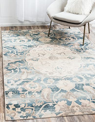 Unique Loom Paris Collection Pastel Tones Traditional Distressed Blue Area Rug 10 0 x 13 0