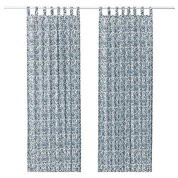 IKEA Gardinen Paar MJOLKORT Blau Weiss Blickdicht Schlaufengardinen