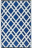 Fab Hab - Dublin - Strahlend Blau & Weiß - Teppich/ Matte für den Innen- und Außenbereich (90 cm x 150 cm)
