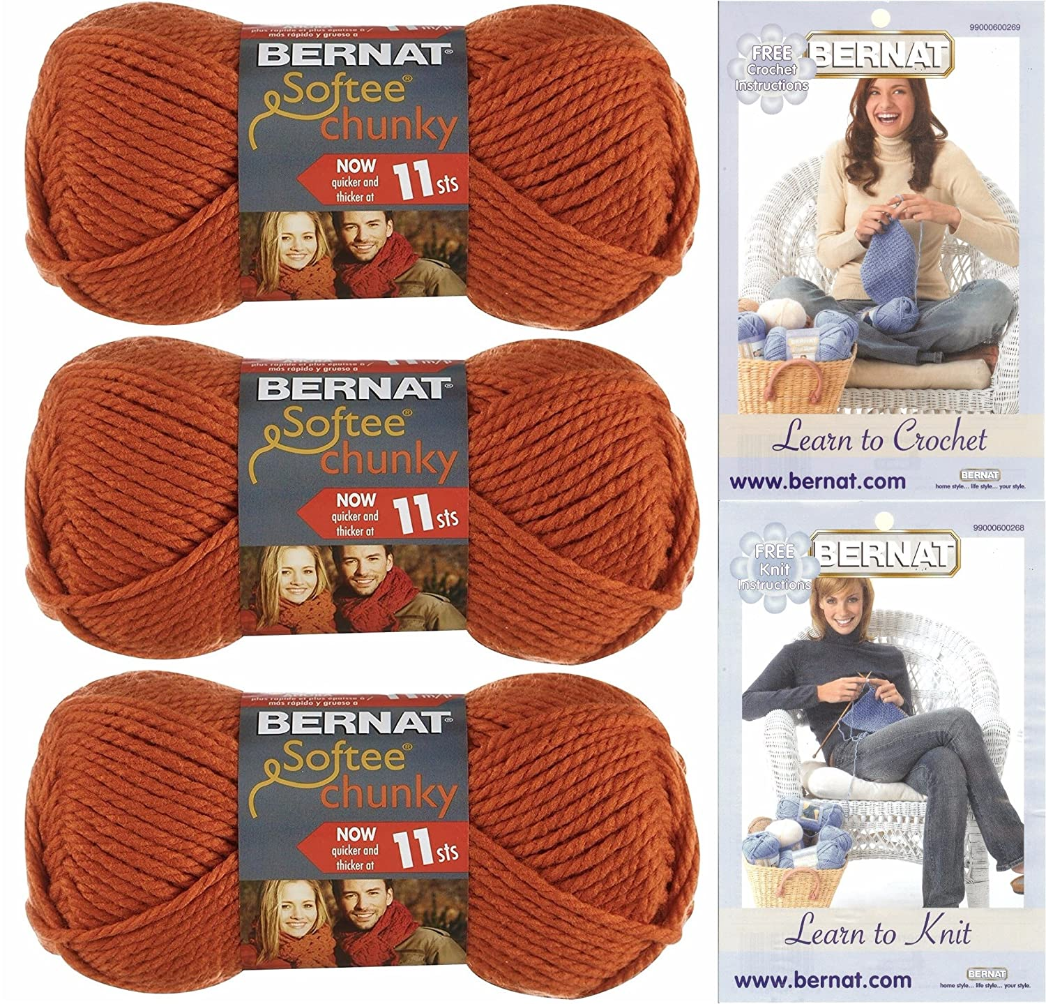 Amazon.com: Bernat Softee Chunky Solid Yarn Bundle Super Bulky #6, 3 ...