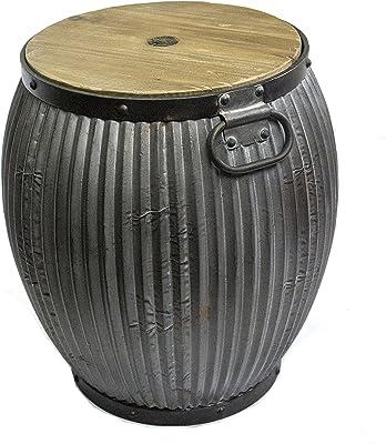 Sagebrook Home 11515 Metal Barrel Table, Wood Top Metal, 19 X 19 X 21