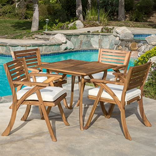 Christopher Knight Home 296620 Deal Furniture Deandra 5-Piece Outdoor Dining Set with Cu, Natural Wood Stain