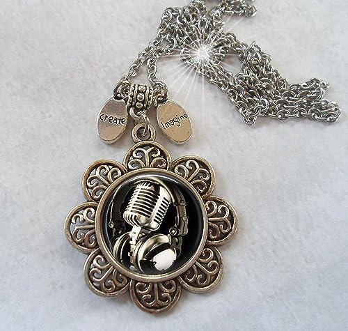 Headphones Necklace SMALL Bronze Classic Headphones Jewelry Brass Headphones Charm Music Necklace Music Gift Musician Jewelry Musician Gift