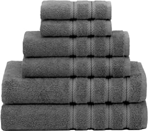 American Soft Linen, 100% Turkish Cotton 6 Piece Towel Set, Absorbent, Durable, Soft & Fluffy, Hotel & Spa Bathroom Towels, 610 GSM, 2 Bath 2 Hand 2 Wash Towels (Bath Linen Set, Grey)