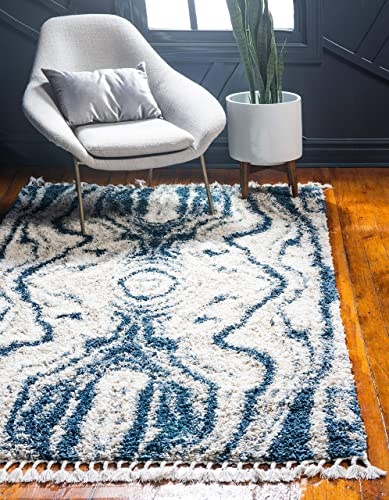 Unique Loom Hygge Shag Collection Abstract Plush Cozy Blue Area Rug 8 0 x 10 0
