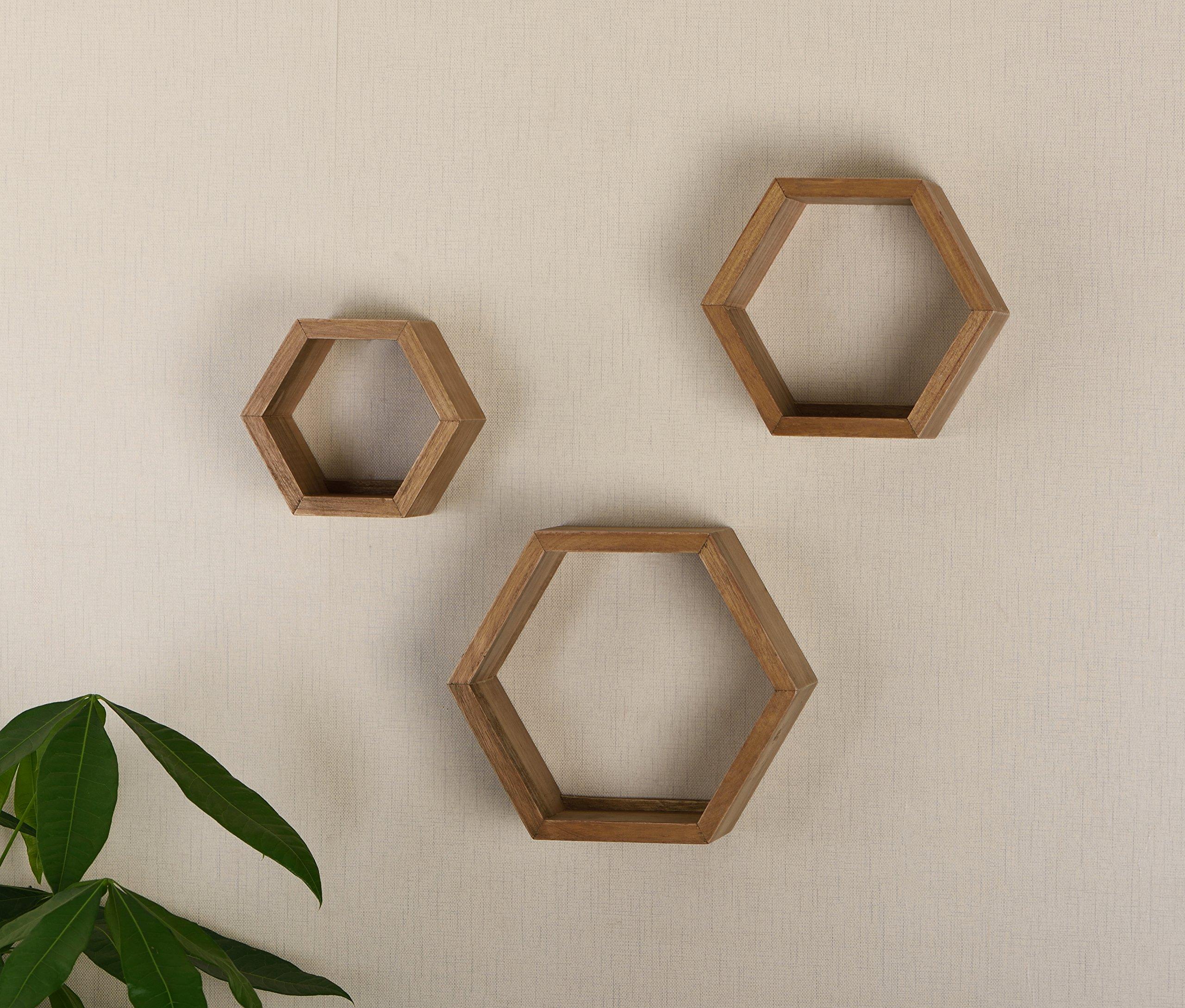 V-LIGHT Wood Wall Finish, Set of Three Cubes (VW151006O) Decorative Shelving, Oak