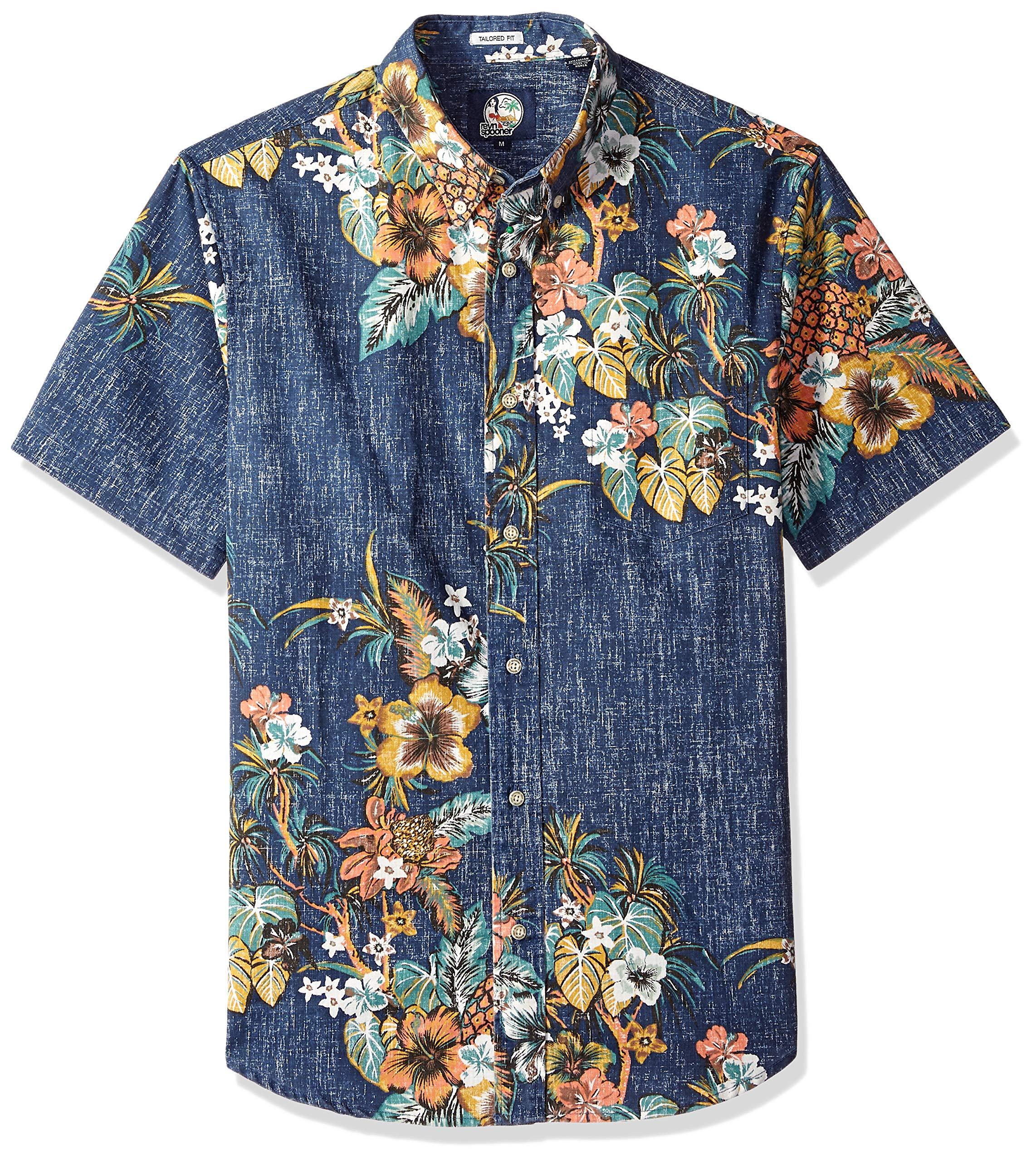 Reyn Spooner Men's Pupus and Mai Tais Weekend Wash Tailored Fit Hawaiian Shirt, Ink, XXL