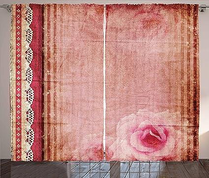 Amazon.com: Ambesonne Shabby Chic Decor Curtains, Vintage Style ...