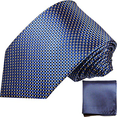 P.M. Krawatten Paul Malone Corbata de seda azul (165cm extra largo ...