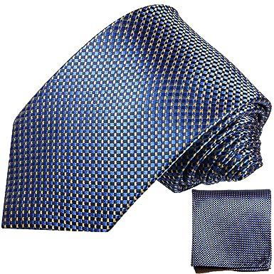 P.M. Krawatten Paul Malone Corbata de seda azul + pañuelo: Amazon ...