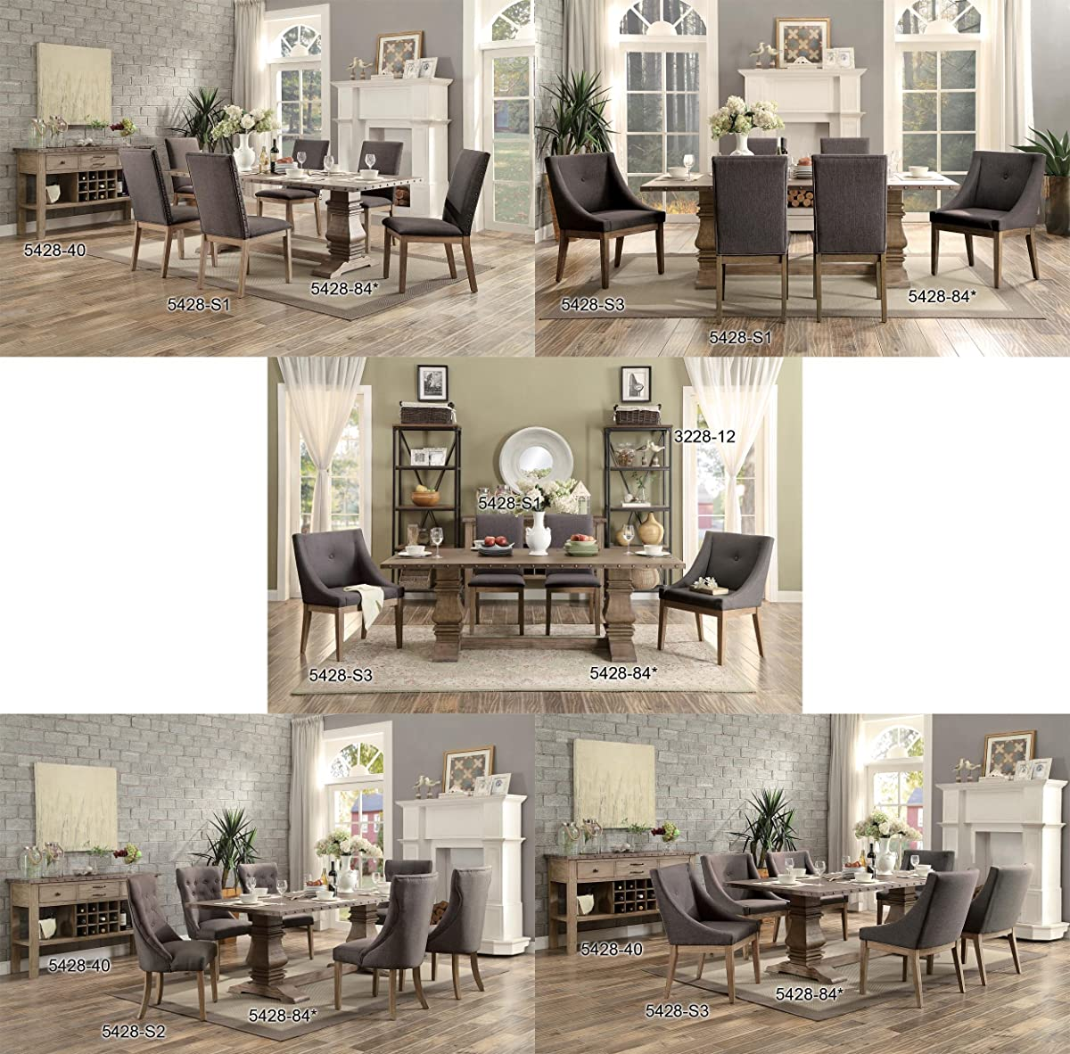 Homelegance Anna Claire 84 inch Rectangular Table with Pedestal Base and Nail Head Accent Banding, Rusticated Zinc Top