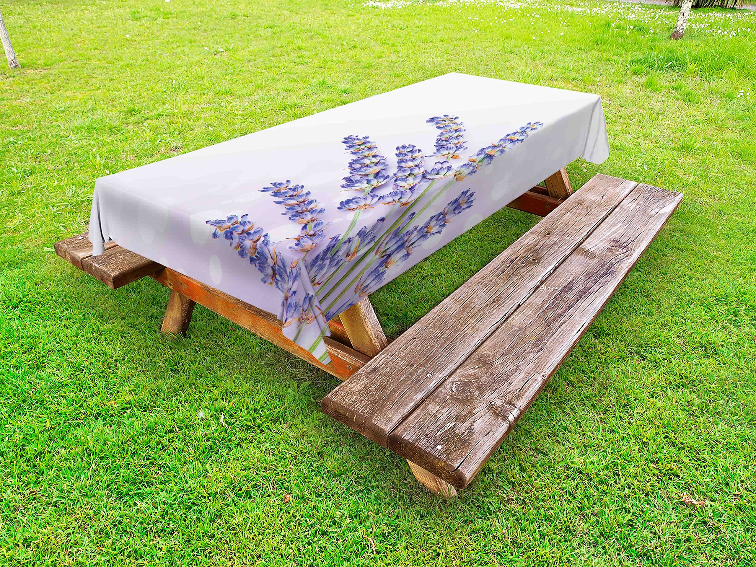 Ambesonne Lavender Outdoor Tablecloth, Little Posy of Medicinal Herb Fresh Plant of Purple Flower Spa Aromatheraphy Organic, Decorative Washable Picnic Table Cloth, 58 X 120 inches, Lavander