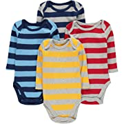 Wan-A-Beez 4 Pack Baby Girls' and Boys' Long Sleeve Bodysuits (3-6 Months, Stripes)