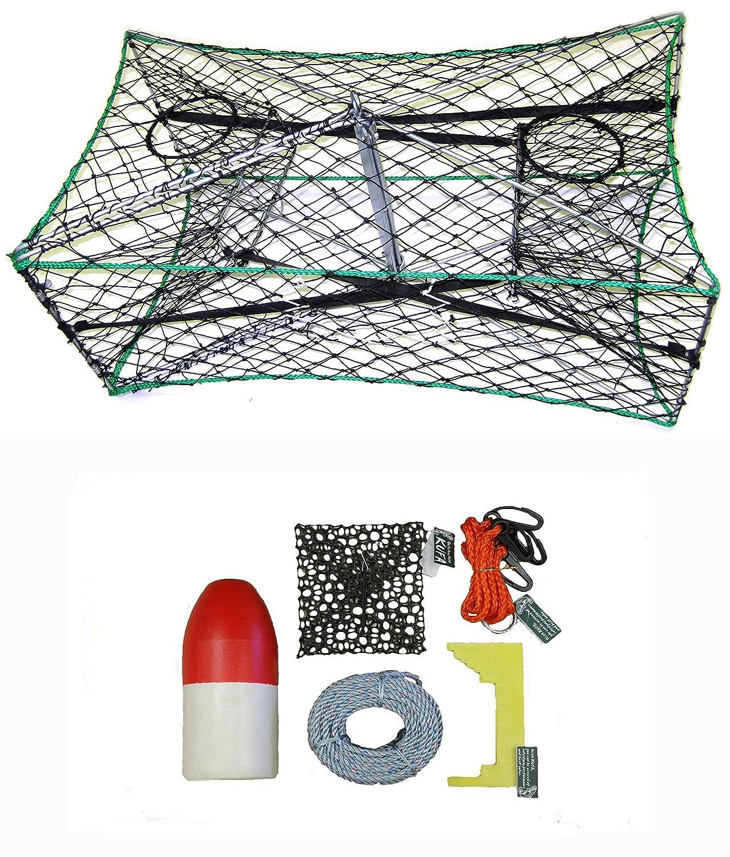 KUFA亜鉛メッキ折りたたみ式Crab Trapアクセサリーキット(100 ' Lead corerope、クリップ、餌ケース14