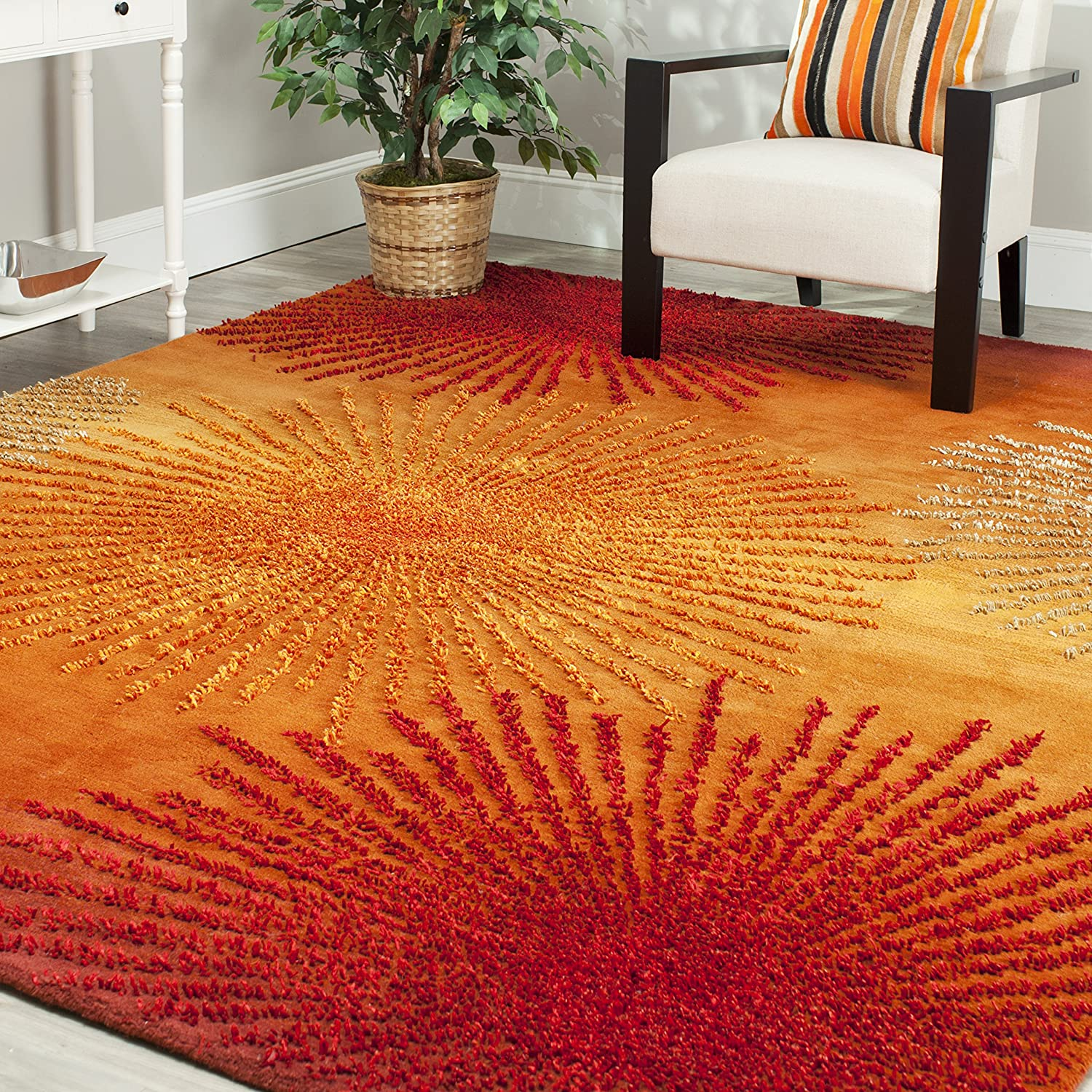 Amazon.com: Safavieh Soho Collection SOH712R Handmade Fireworks Rust And  Multicolored Premium Wool Area Rug (5u0027 X 8u0027): Kitchen U0026 Dining Part 36