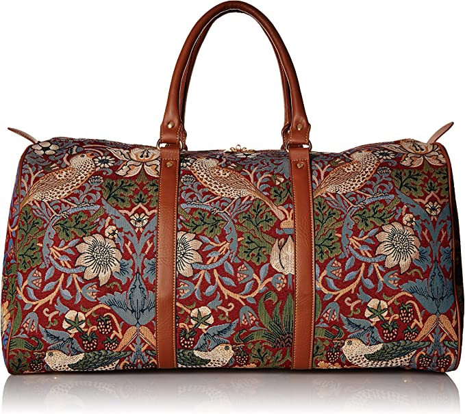 William Morris Strawberry Thief Carry-on Overnight Weekender Travel Bag by Signare
