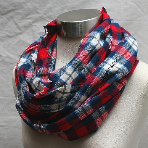 608f2b8e33155 Amazon.com: Cozy Cotton Plaid Infinity Scarf Unisex Red Blue Ivory Yve  Hayes Plaid Infinity Scarves Eternity Circle: Handmade