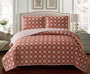 Go-U Set Universal Home Fashions Quilt, Twin, Red Mandala Ironwork