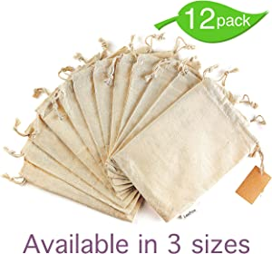 12 Pcs Reusable Produce Bags, Organic Cotton Muslin Produce Storage Bag with Drawstring - Medium 8x10 Inch - Sachet Canvas Bags, Biodegradable Fabric Bags - Snack Bags, Cloth Bags by Leafico