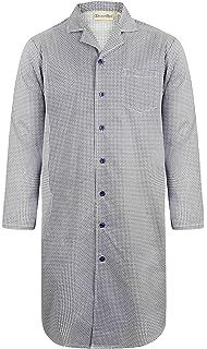 Red Walker Reid Mens Checked Nightshirt 100/% Cotton Twill Button Up Traditional Nightwear