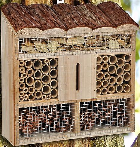 Hillfield® - Hotel para insectos grande o compacto, colmenar, nido y ayuda para