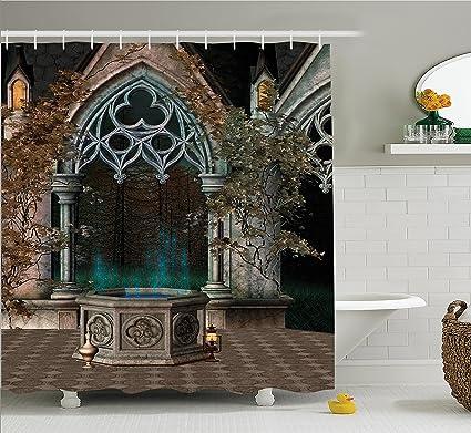 Amazon Com Ambesonne Gothic House Decor Shower Curtain Mystical