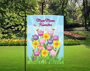 Cherrytees Personalized Garden Flag-Personalized Mom Garden Flags, Tulips Garden Flag, Grandkids Names on Flags, Grandma Favorites Garden Flag, mom mom Blessings-Custom to Select Size