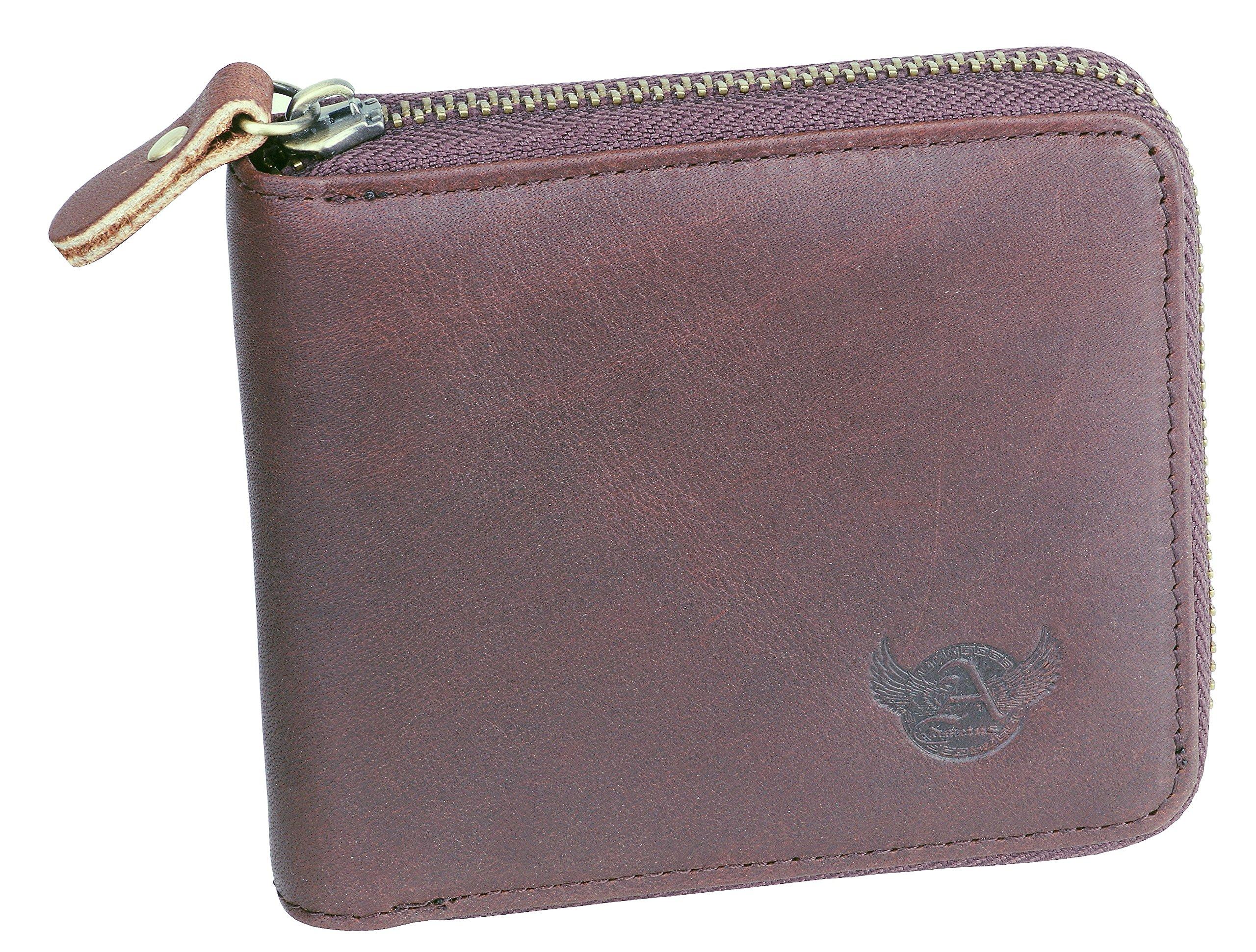 Admetus Men's Genuine Leather Short Zip-around Bifold Zero credit card ID Wallet