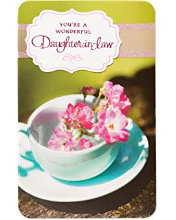 Teacup Birthday Card For Daughter In Law With Glitter